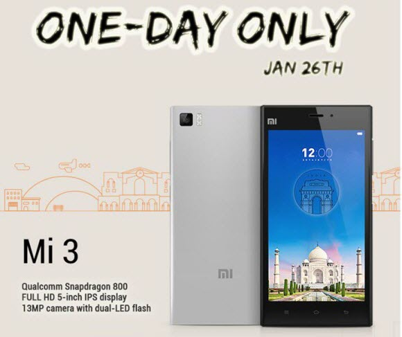 Xiaomi Mi3 to be sold again on Republic day !